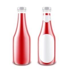 Set of red tomato bottle without with round label vector