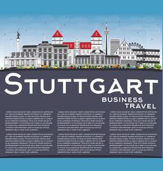Stuttgart skyline with gray buildings blue sky vector