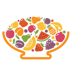 stylized image of a bowl of fruit vector image vector image