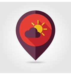Sun and cloud flat pin map icon weather vector