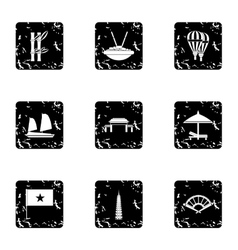Tourism in vietnam icons set grunge style vector