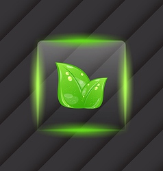 Transparent frame with eco green leaves vector image