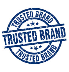 Trusted brand blue round grunge stamp vector