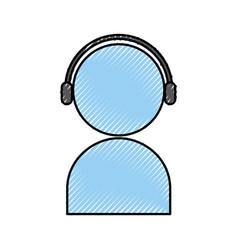 User avatar with headphones vector