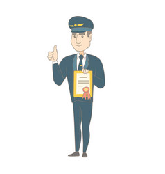 Young caucasian pilot holding a certificate vector