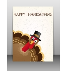 Happy thanksgiving celebration card with turkey vector