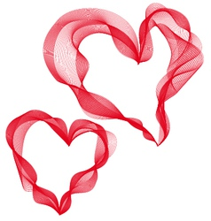 two abstract ribbon hearts vector image