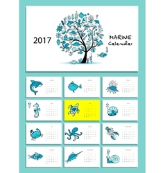 Marine tree design calendar 2017 vector