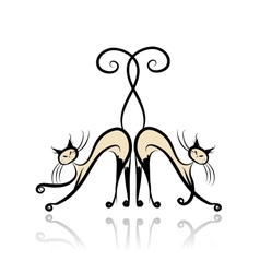 Graceful siamese cats for your design vector