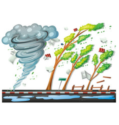 Scene with big storm on the road vector