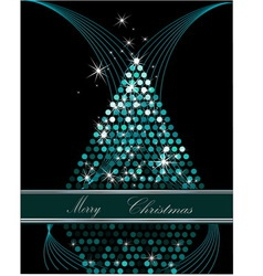 Christmas tree blue and silver vector image