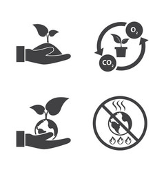 Save the world ecology icons set vector