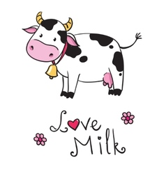 Cow i love milk vector