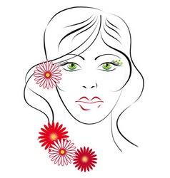 portrait of greeneyed girl sketch vector image