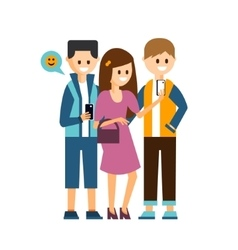 Girl and boys making a selfie communicating in vector