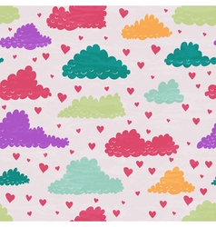 Clouds and rain of hearts vector