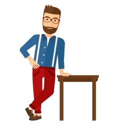 Man leaning on table vector
