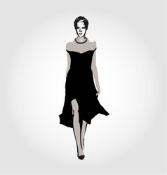 Runway model in designer outfit vector