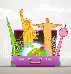 Vacation travelling composition with the open bag vector