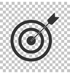 Target with dart dark gray icon on transparent vector