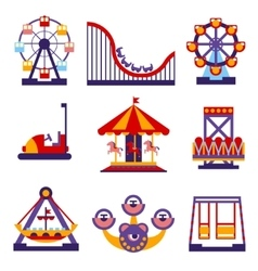 Amusement park icons set of flat design vector