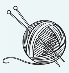 Ball of yarn and needles vector