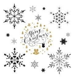 Beautiful snowflakes set for christmas vector image