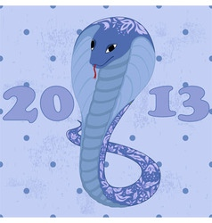 blue snake with floral patetrn grunge vector image vector image