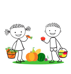 Boy and girl holding carrot and apples vector
