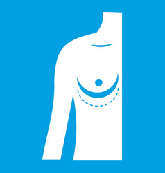Breast implant surgery icon white vector