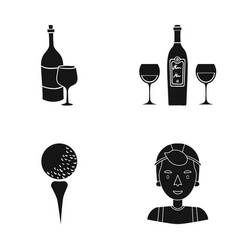 Cap sportsman winery and other web icon in black vector