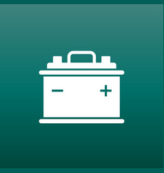 Car battery flat icon on green background auto vector