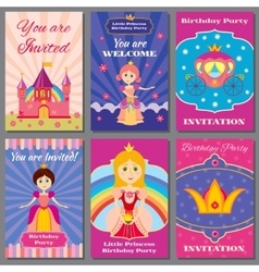 Child girl birthday princess party vector