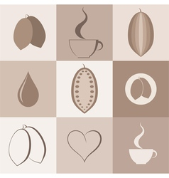 Cocoa Icon set vector image vector image