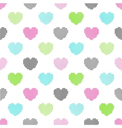 Colorful seamless pattern of halftone hearts vector