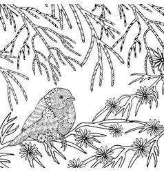 Cute bird coloring page vector