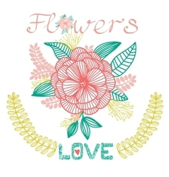 Decorative floral card with flower love vector image vector image