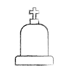 Figure tombstone with cross and religion funeral vector