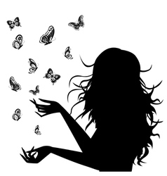 Girl butterflies black vector