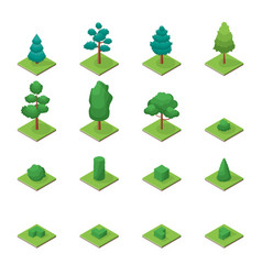 green trees park objects set icons 3d isometric vector image vector image