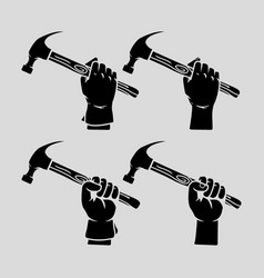 hand holding hammer silhouette vector image vector image
