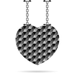 Heart on chain in color vector