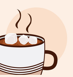 Hot coffee with sugar cubes cartoon close up vector