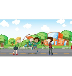 Kids playing at the road vector image vector image
