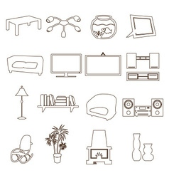 living room simple outline icons set eps10 vector image