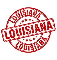 Louisiana red grunge round vintage rubber stamp vector