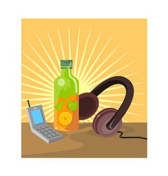 Mobile Phone Soda Drink Headphone Retro vector image vector image