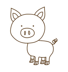 Monochrome thin contour of pig vector