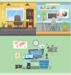 office interiors horizontal banners bussines vector image vector image