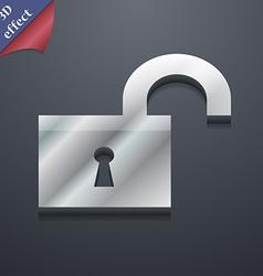 open lock icon symbol 3D style Trendy modern vector image vector image
